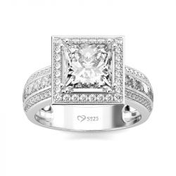 Jeulia Halo Princess Cut Sterling Silver Ring