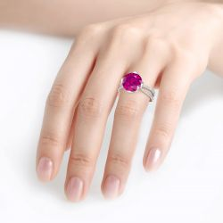 Flower Design Round Cut Sterling Silver Ring