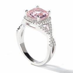 Twist Halo Cushion Cut Synthetic Morganite Sterling Silver Ring