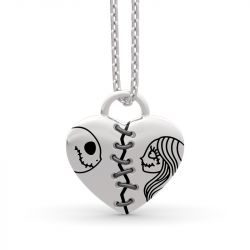 Jack Skellington and Sally Sterling Silver Necklace