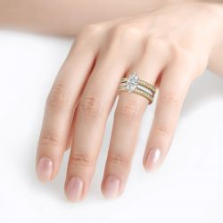 Two Tone Marquise Cut Sterling Silver Enhancer Ring Set