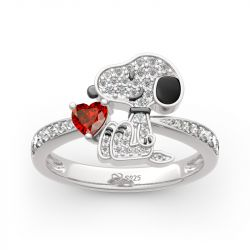 """""""Live In The Present"""" Puppy Heart Cut Sterling Silver Ring"""