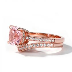 Cushion Cut Synthetic Morganite Sterling Silver Ring Set