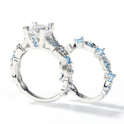 Butterfly Round Cut Sterling Silver Ring Set