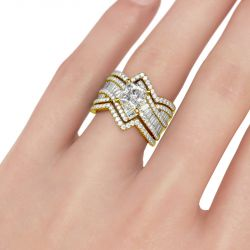 Bypass Princess Cut Enhancer Sterling Silver Ring