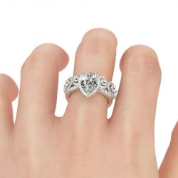 Jeulia Halo Pear Cut Sterling Silver Ring Set