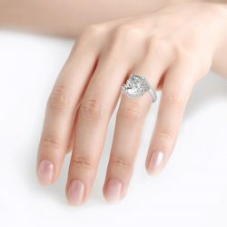 Jeulia Leaf Design Cushion Cut Sterling Silver Ring