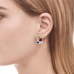 Mondrian Composition Inspired Sterling Silver Earrings