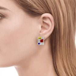 Jeulia Mondrian Composition Inspired Sterling Silver Earrings