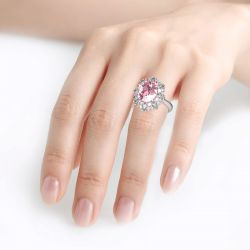 Floral Oval Cut Sterling Silver Ring