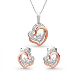 Double Heart Sterling Silver Jewelry Set