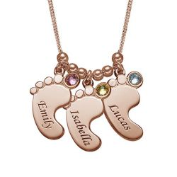 Rose Gold Tone Baby Feet Engraved Necklace With Birthstones Sterling Silver