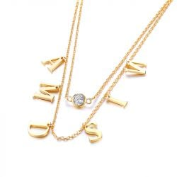 Jeulia Double Layer Name Personalized Sterling Silver Necklace