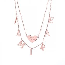 Double Layer Heart Name Personalized Sterling Silver Necklace