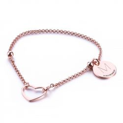 Heart Initial Personalized Sterling Silver Bracelet