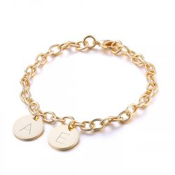 Initial Disc Personalized Sterling Silver Bracelet