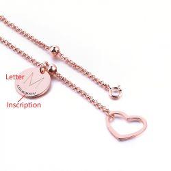 Jeulia Heart Initial Personalized Sterling Silver Bracelet