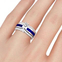 Jeulia 3PC Heart Cut Sterling Silver Ring Set