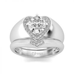 Heart Shape Halo Round Cut Sterling Silver Ring Set
