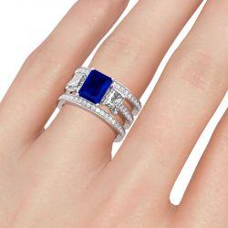 Jeulia Three Stone Radiant Cut Sterling Silver Ring Set