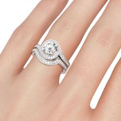 Jeulia Bypass Halo Round Cut Sterling Silver Ring Set