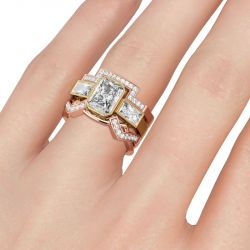 Jeulia Two Tone Radiant Cut Sterling Silver Ring Set