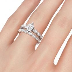 Classic Marquise Cut Sterling Silver Ring Set