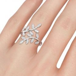 Jeulia Leaf Design Sterling Silver Cocktail Ring