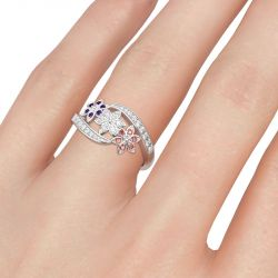 Floral Round Cut Sterling Silver Ring