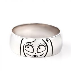 Cute Jack Skellington and Sally Sterling Silver Couple's Band Set