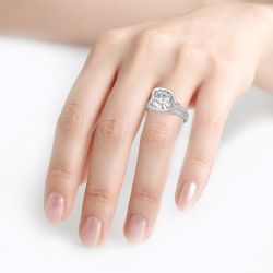 Cross Design Cushion Cut Sterling Silver Ring