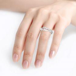 Jeulia Love Knot Design Sterling Silver Women's Band