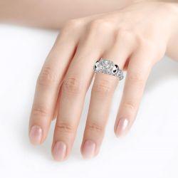 Jeulia Jack Skellington Inspired Princess Cut Sterling Silver Ring