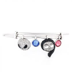 Jeulia Jack Skellington and Sally Sterling Silver Personalized Bracelet