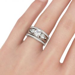 Three Stone Round Cut Enhancer Sterling Silver Ring Set