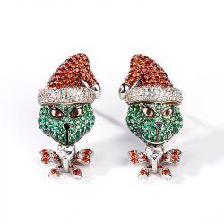"Jeulia ""Holiday Cheermeister"" Christmas Monster Inspired Sterling Silver Earrings"