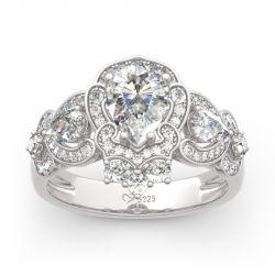 Jeulia Rococo Style Pear Cut Sterling Silver Ring