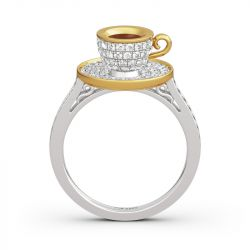 "Jeulia ""Romantic Afternoon"" Coffee Cup Sterling Silver Ring"