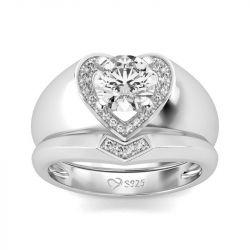 Jeulia Heart Shape Halo Round Cut Sterling Silver Ring Set