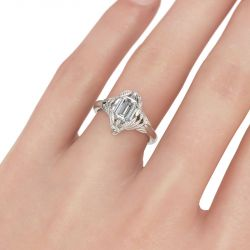 Feather Emerald Cut Sterling Silver Skull Ring