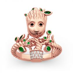 "Jeulia ""I am Groot"" Tree Man Sterling Silver Ring"
