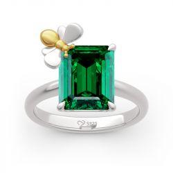 "Jeulia ""Honey Bee"" Emerald Cut Sterling Silver Ring"