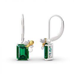 """Jeulia """"Honey Bee"""" Emerald Cut Sterling Silver Earrings"""