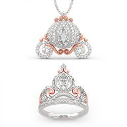 "Jeulia ""Cinderella's Dream"" Pumpkin Carriage Sterling Silver Jewelry Set"