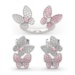 """Jeulia """"Spring is Coming"""" Two Butterfly Sterling Silver Jewelry Set"""
