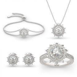 "Jeulia ""Winter Love"" Snowflake Round Cut Sterling Silver Jewelry Set"