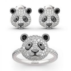 "Jeulia ""Be Calm and Steady"" Cute Panda Sterling Silver Jewelry Set"
