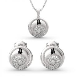 "Jeulia ""Romance in the Moonlight"" Jack Skellington and Sally Sterling Silver Jewelry Set"