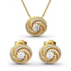 Jeulia Spiral Design Round Cut Sterling Silver Jewelry Set