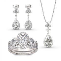 Jeulia Halo Pear Cut Sterling Silver Jewelry Set